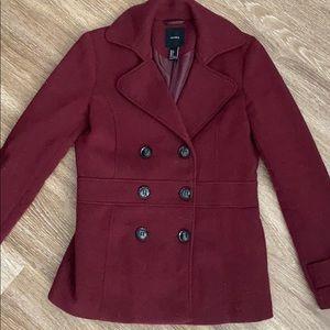 Forever21 button up peacoat in maroon